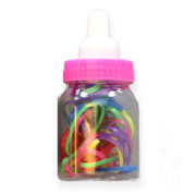 Hair Elastics in Baby Bottle - Mixed Colors