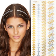 Flash Hair Tattoo - Haar tattoo in zilver en goud, HT205