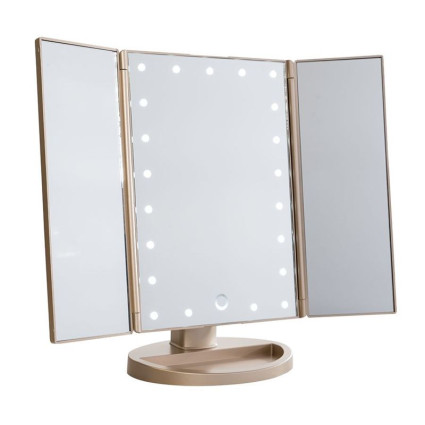 Uniq Hollywood Trifold Makeup Mirror with LED Light - Rose Gold