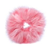 Hair Elastic with Fur - Faux Scrunchie, Pink
