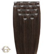 Clip on hair extensions #4 Chocolate Brown - 7 stuks - 60 cm | Gold24