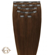 Clip on hair extensions #6 Brown - 7 stuks - 50 cm | Gold24