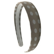 Headband with Beige and White Polka Dots