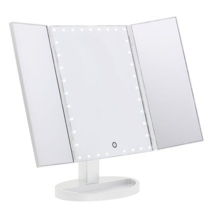 Uniq Hollywood Trifold Makeup Mirror with LED Light - Wit