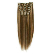 Clip-on hair extensions - 65 cm - #4/27 Chocolade Bruin/Midden Blond Mix