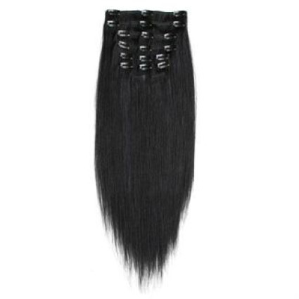 Clip-on hair extensions - 50 cm - #1 Zwart