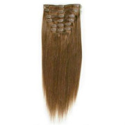 Clip-on hair extensions - 50 cm - #6 Bruin