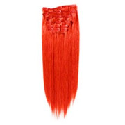 Clip-on hair extensions - 50 cm - Rood