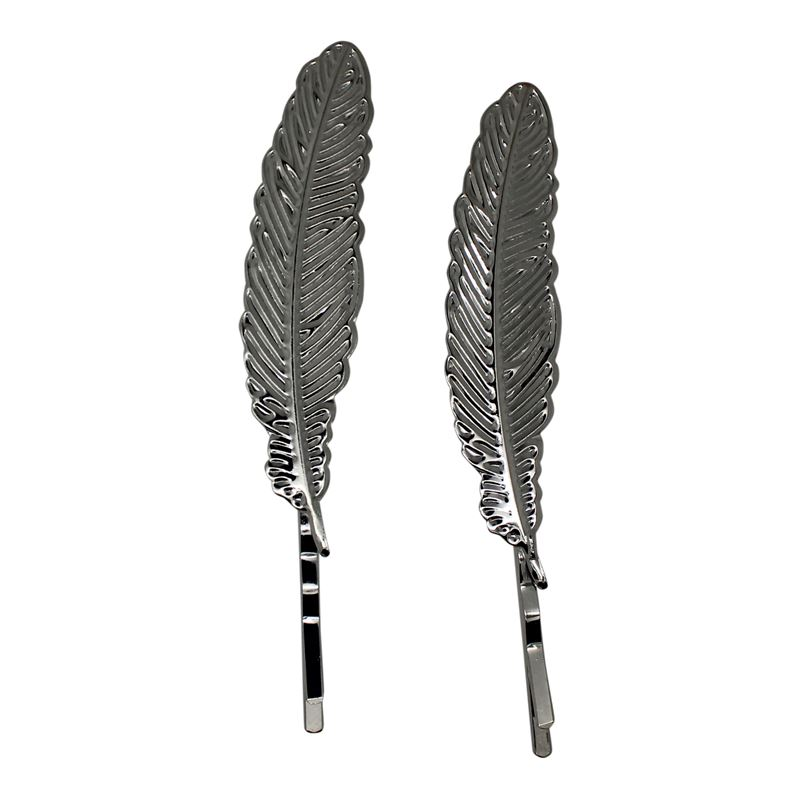 Image of   SOHO® Feather Bobby Pin 2 Stuks - Zilver